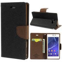 Mr. Goos peňaženkové puzdro na Sony Xperia M2 - čierné/hnedé