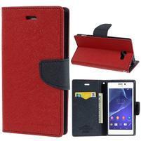 Mr. Goos peňaženkové puzdro pre Sony Xperia M2 - červené