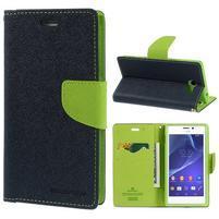 Mr. Goos peňaženkové puzdro na Sony Xperia M2 - tmavo modré