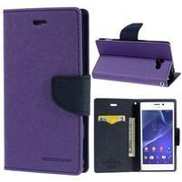 Mr. Goos peňaženkové puzdro na Sony Xperia M2 - fialové