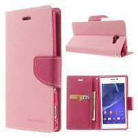 Mr. Goos peňaženkové puzdro na Sony Xperia M2 - růžové