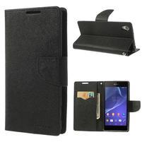 Fancy peněženkové pouzdro na Sony Xperia Z2 - černé