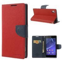 Fancy peněženkové pouzdro na Sony Xperia Z2 - červené