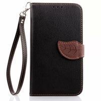 Peňaženkové puzdro s pútkom na Samsung Galaxy Note 4 - čierne