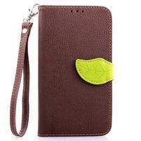 Peňaženkové puzdro s pútkom pre Samsung Galaxy Note 4 - hnedé