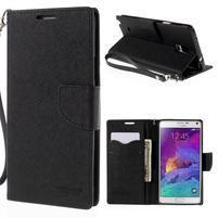 Štýlové peňaženkové puzdro pre Samsnug Galaxy Note 4 - čierne