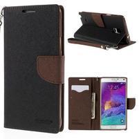Stylové peňaženkové puzdro na Samsnug Galaxy Note 4 - čierne/hnedé