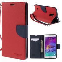 Stylové peňaženkové puzdro na Samsnug Galaxy Note 4 - červené