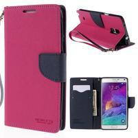 Štýlové peňaženkové puzdro pre Samsnug Galaxy Note 4 -  rose