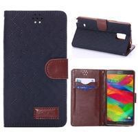Elegantné peňaženkové puzdro pre Samsung Galaxy Note 4 - tmavomodre