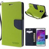 Štýlové peňaženkové puzdro pre Samsnug Galaxy Note 4 -  zelené