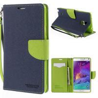 Štýlové peňaženkové puzdro pre Samsnug Galaxy Note 4 -  tmavomodre