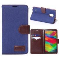 Jeans peňaženkové puzdro pre Samsung Galaxy Note 4 - modré