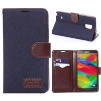 Jeans peňaženkové puzdro pre Samsung Galaxy Note 4 - tmavě modré