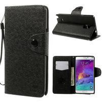 Zapínací peneženkové poudzro Samsung Galaxy Note 4 - čierne