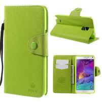 Zapínací peneženkové poudzro Samsung Galaxy Note 4 - zelené