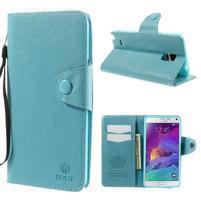 Zapínací peneženkové poudzro Samsung Galaxy Note 4 - svetlomodre