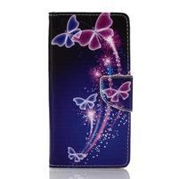 Rich PU kožené pouzdro na mobil Samsung Galaxy A3 (2016) - kouzelní motýlci