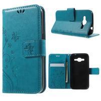 Butterfly PU kožené puzdro pre Samsung Galaxy Core Prime - modré