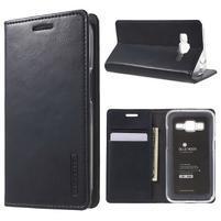 Moon PU kožené puzdro pre mobil Samsung Galaxy Core Prime - čierne