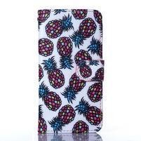 Standy peňaženkové puzdro pre Samsung Galaxy Core Prime - ananasy