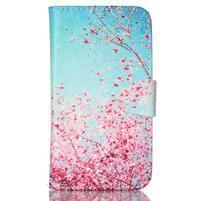 Emotive peňaženkové puzdro pre Samsung Galaxy Core Prime - kvitnúca slivka