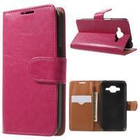 Horse PU kožené puzdro pre mobil Samsung Galaxy Core Prime - rose