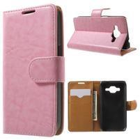 Horse PU kožené puzdro pre mobil Samsung Galaxy Core Prime - ružové