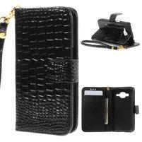 Croco peněženkové pouzdro na Samsung Galaxy Core Prime - černé