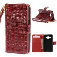 Croco peňaženkové puzdro pre Samsung Galaxy Core Prime - červené