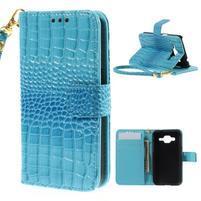Croco peněženkové pouzdro na Samsung Galaxy Core Prime - modré