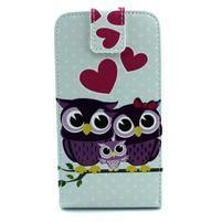 Flipové puzdro pre mobil Samsung Galaxy Core Prime - zamilované sovy