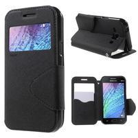 Kožené puzdro s okienkom Samsung Galaxy J1 - čierné