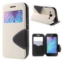 Kožené puzdro s okienkom Samsung Galaxy J1 - biele/čierné