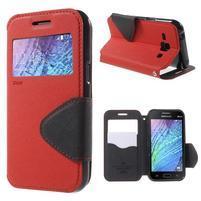 Kožené puzdro s okienkom Samsung Galaxy J1 - červené/čierné