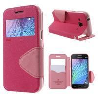 Kožené puzdro s okienkom Samsung Galaxy J1 - rose/ružové