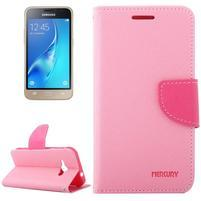 Diary PU kožené puzdro pre Samsung Galaxy J1 (2016) - ružové