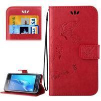 Magicfly PU kožené puzdro pre mobil Samsung Galaxy J1 (2016) - červené