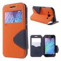 Kožené puzdro s okienkom Samsung Galaxy J1 - oranžové/tmavo modré