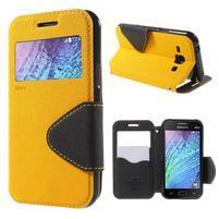 Kožené puzdro s okienkom Samsung Galaxy J1 - žlté/čierné