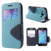 Kožené puzdro s okienkom Samsung Galaxy J1 - svetlo modré/tmavo modré