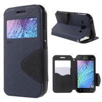 Kožené puzdro s okienkom Samsung Galaxy J1 - tmavo modré/čierné