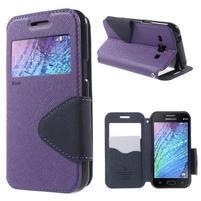 Kožené puzdro s okienkom Samsung Galaxy J1 - fialové/tmavo modré