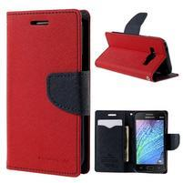 Červené/tmavo modré kožené puzdro pre Samsung Galaxy J1