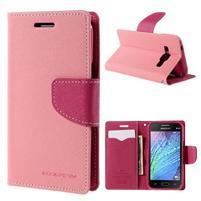 Růžové/rose kožené puzdro na Samsung Galaxy J1