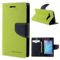 Zelené/tmavo modré kožené puzdro pre Samsung Galaxy J1