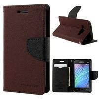 Hnedé/čierné kožené puzdro pre Samsung Galaxy J1