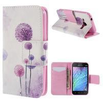Zapínací puzdro pre Samsung Galaxy J1 - fialová púpava