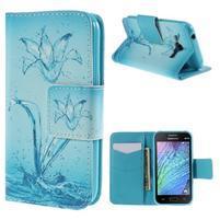 Zapínací puzdro pre Samsung Galaxy J1 - vodní květina