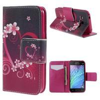 Zapínací puzdro pre Samsung Galaxy J1 - kvetinové srdca